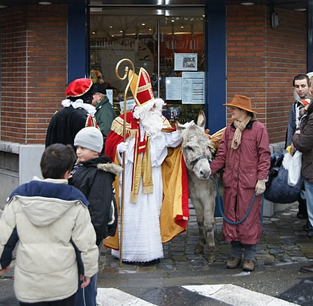 Saint Nicolas with his donkey