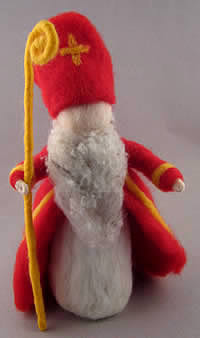 Needle-felted Saint in red