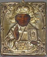 St Nicholas icon with brass oklad
